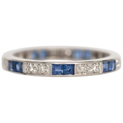1920s Art Deco Diamond, Sapphire, 18 Karat White Gold Wedding Band