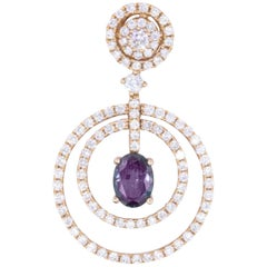 Oval GIA Natural Alexandrite Diamond Cluster Rose Gold Pendant 0.75 Carat