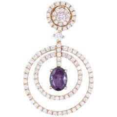 Oval GIA Natural Alexandrite Diamond Cluster Rose Gold Pendant 0.75 Carat