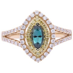 Marquise Shape Alexandrite Rose Gold and Diamond Ring with Certificate