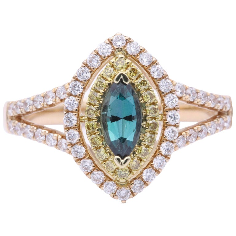 Marchese Shape Alexandrite Rose Gold and Diamond Ring with Certificate
