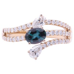 Oval Alexandrite Diamonds Cocktail Bridal Rose Gold Ring CC Certificate