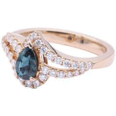 Pear Shape Alexandrite and Diamond Cocktail Ring with Certificate