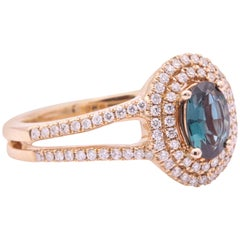 Rose Gold Oval Alexandrite and Diamond Ring 0.58 Carat