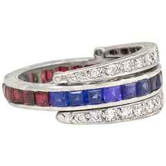 "Art Deco Sapphire, Ruby, Diamond ""Flip"" Eternity Band"