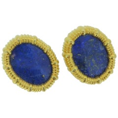 Lalaounis Lapis Lazuli and 18 Carat Yellow Gold Oval Ear Clips