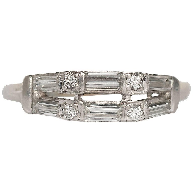 1940 Art Deco .50 Carat Total Weight Diamond & Platinum Wedding Band