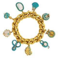 Antique Gold Bracelet with Assorted Turquoise and Pearl Charms