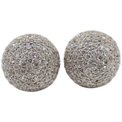 18 Karat White Gold Ball Earrings Pavé Set with 0.77 Carat of Diamond