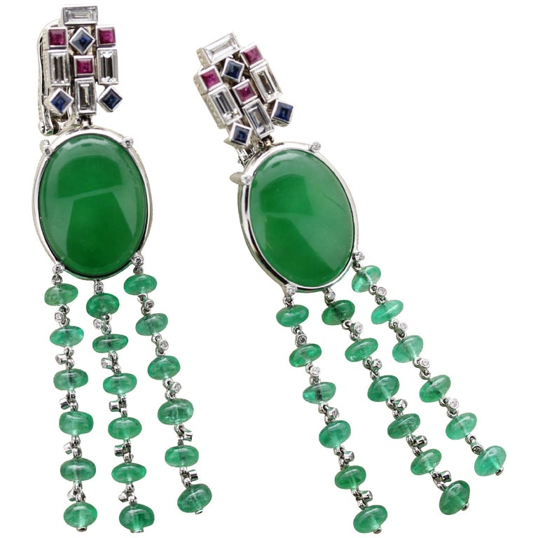 Bulgari Jade Chandelier Style Earrings With Diamonds Rubies And Shires For
