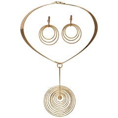 Bent Gabrielsen, Gold Concentric Circle Pendant Necklace and Earrings