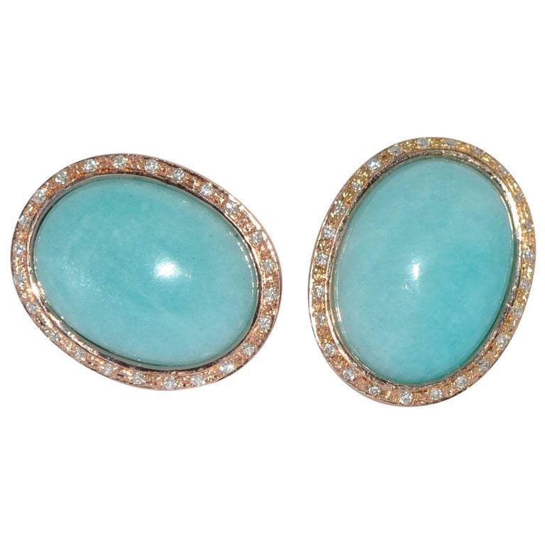 Amazonite and Diamonds Rose Gold Stud Earrings For Sale