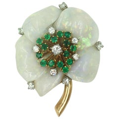 Mother-of-Pearl Diamond and Emerald Vintage Brooch