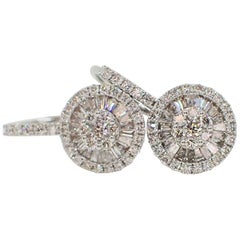 18 Karat Gold Fan Style Earrings with Lever Backs with 0.80 Carat of Diamond