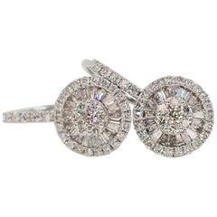 18 Karat Gold Fan Style Earrings with Lever Backs with 0.80 Carat of Diamond