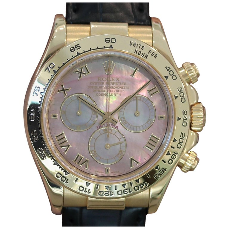 Rolex Yellow Gold Dark Mother-of-Pearl Daytona Automatic Wristwatch Ref 116518