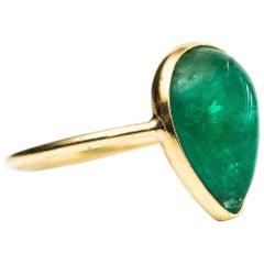 2.2 Carat Pear Cut Emerald and 18 Karat Yellow Gold Ring