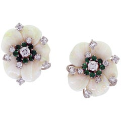 Vintage Mother-of-Pearl Earrings with Diamonds and Emeralds