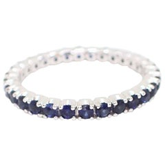 18 Karat White Gold Eternity Band with 1.02 Carat of Sapphire