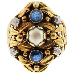Antique Art Nouveau Pearl Sapphire and Diamond Ring