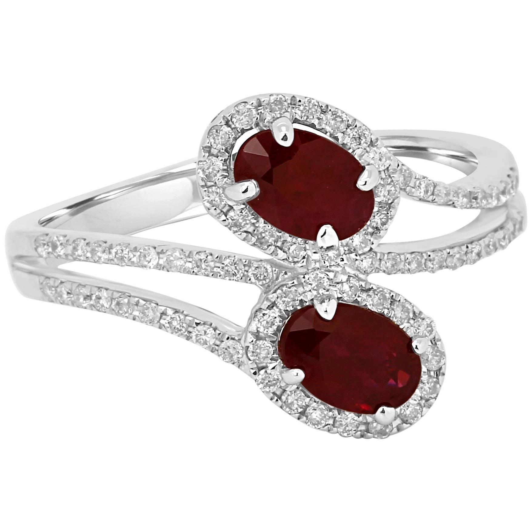 Ruby Diamond Toi ET Moi Two-Stone Halo Gold Fashion Bridal Ring