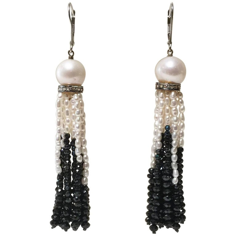 Pearl and Black Spinel Lever Back Tassel Earrings with Diamonds by Marina J.