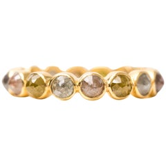 2 Carat Rose-Cut Diamond and 18 Karat Yellow Gold Eternity Band