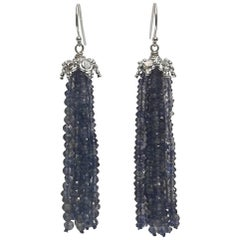 Iolite Tassel Earrings with 14 White Gold Cup and Hook by Marina J