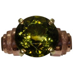 18 Karat Rose Gold, Retro Peridot Ring