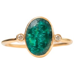 1.8 Carat Oval Emerald with Diamonds and 18 Karat Yellow Gold Ring