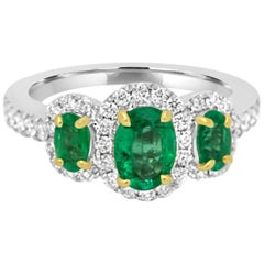 Emerald Diamond Three-Stone Halo Two-Color Gold Ring