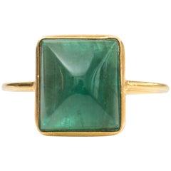 3.5 Carat Emerald Cabochon and 18 Karat Yellow Gold Ring