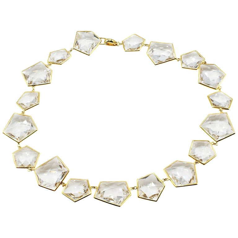 Chic Faceted Rock Crystal 18 Karat Yellow Gold Necklace