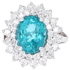 6.54 Carat Apatite Diamond Engagement Ring