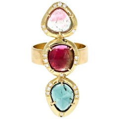Alexa 18 Karat Yellow Rosecut Tourmaline Ring