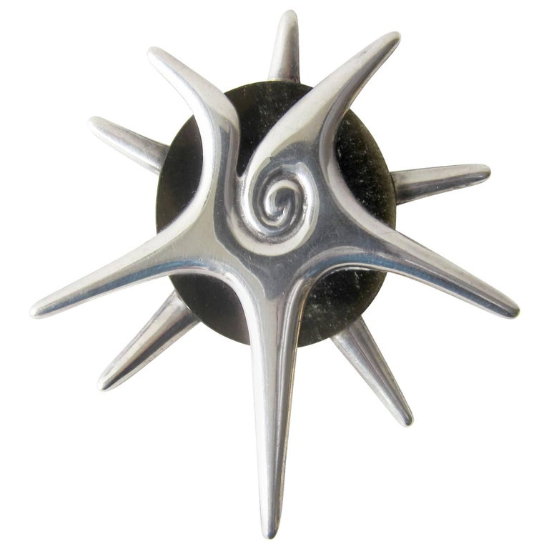 Rare William Spratling Sterling Silver Green Obsidian Star Pendant Brooch