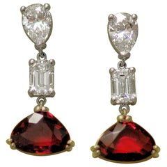 Ruby and Diamond Pendant Earrings in Platinum and Gold
