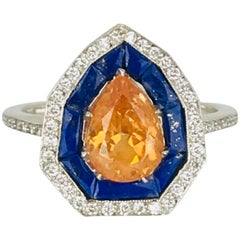 Spessartine Malaia Garnet, Lapis Lazuli, Diamond Halo, Art Deco Ring