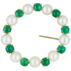 Pearl and Jade Circle Pin, Retro, circa 1965