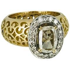 Edwardian Filigree 1.25 Carat Cushion Cut Diamond, Gold and Platinum, circa 1935