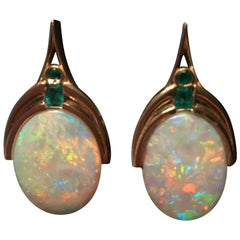 Art Nouveau, 14.00 Carat Australian Opal and .80 Carat Emeralds, Fire Color