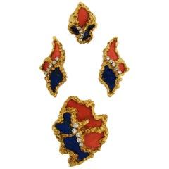 Chaumet, Paris Lapis Coral Diamond Yellow Gold Brooch Ring Earrings Set