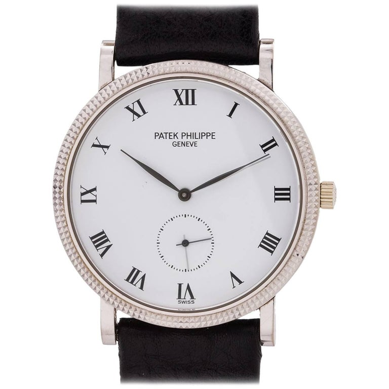 Patek Philippe Ref 3919G Hobnail Bezel White Gold Wristwatch, circa 1990s