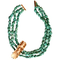 Turquoise Stone Antique Natsuke Bronze Necklace
