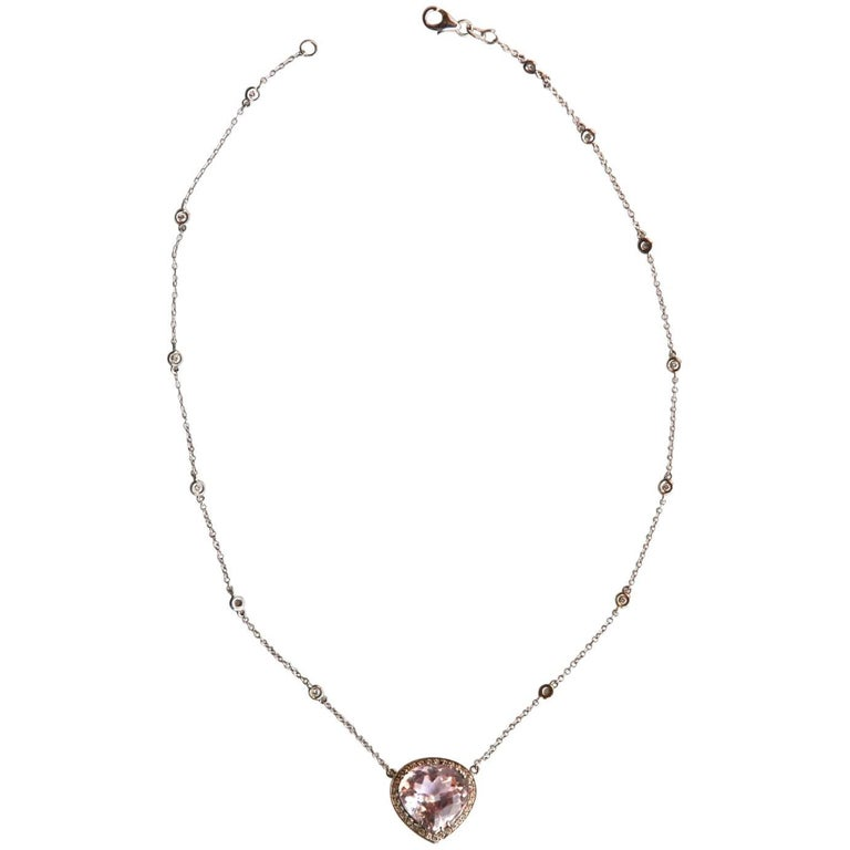 Diamond Gold Rose Kunzite Necklace