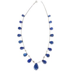 Blu Tanzanite Drop Diamond Gold Necklace