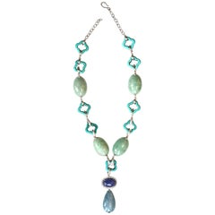 Jade Aquamarine Tanzanite Cabochon Gold Diamond  Necklace