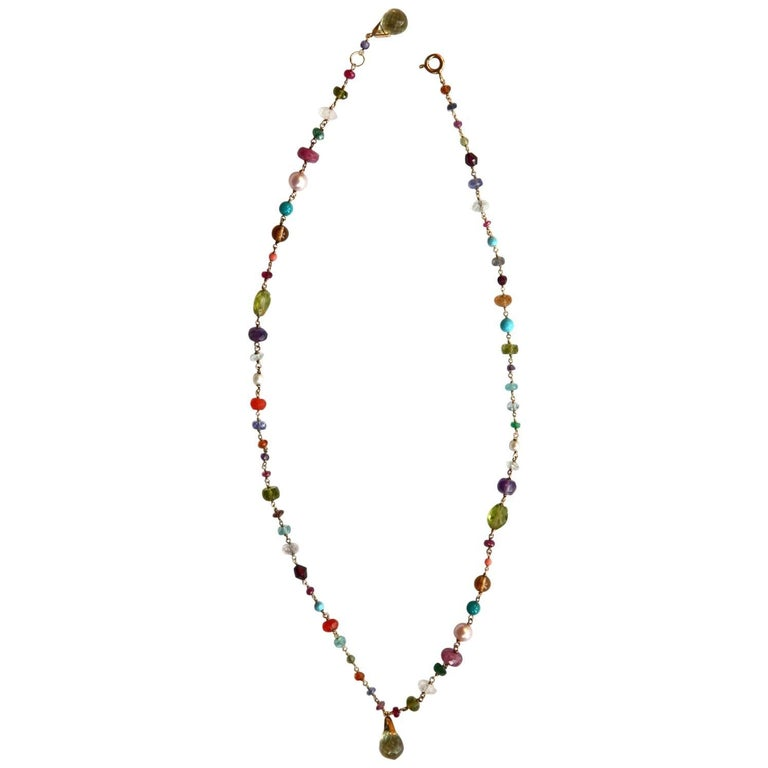 Fruit Salad Necklace Peridot Ruby Turquoise Citrine Natural Pearls Gold