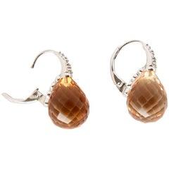 Yellow Topaz Diamond Gold Earrings