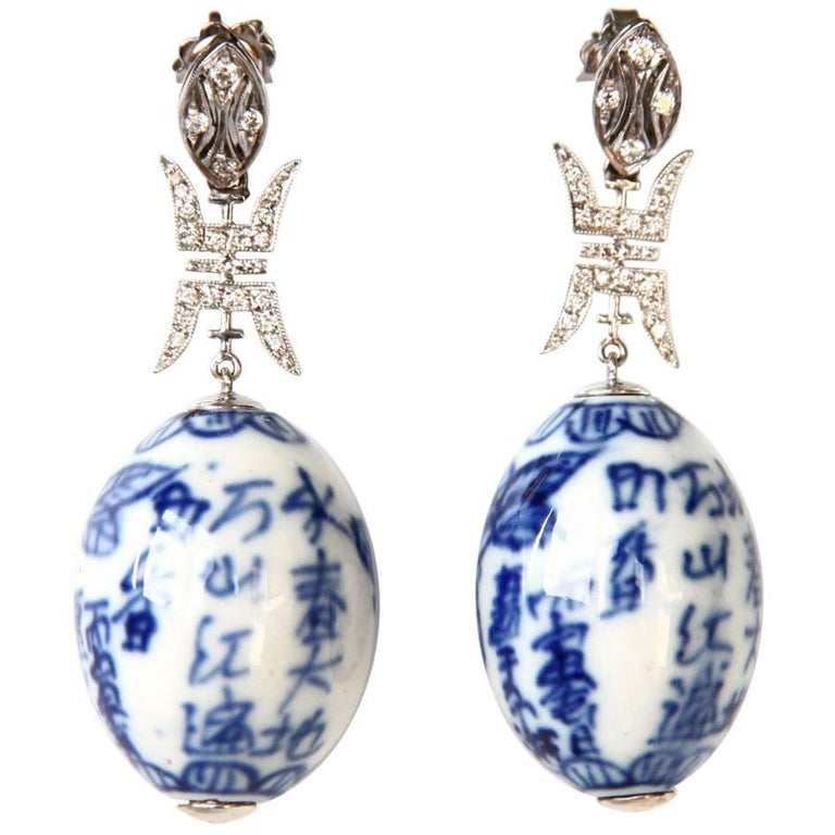 Diamond and Antiques Chinese Ceramic Gold Earrings